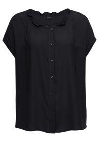 Bluzka z falbanką, oversized bonprix czarny. Kolor: czarny