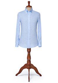 Niebieska koszula Lancerto vintage, button down, na wiosnę