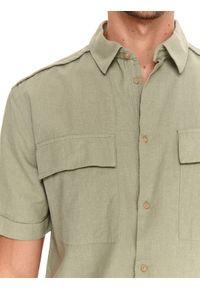 TOP SECRET - Koszula z lnem taliowana. Okazja: na co dzień. Kolor: zielony. Materiał: len. Długość rękawa: krótki rękaw. Długość: krótkie. Sezon: lato, wiosna. Styl: casual #3