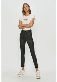 Biała bluzka Tommy Jeans na co dzień, z nadrukiem, z okrągłym kołnierzem, casualowa