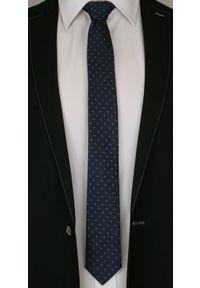 Granatowy Elegancki Krawat -Angelo di Monti- 6 cm, Męski, Niebieski Wzór Geometryczny. Kolor: niebieski. Wzór: geometria. Styl: elegancki