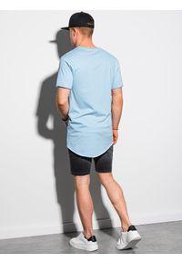 Ombre Clothing - T-shirt męski bawełniany S1378 - jasnoniebieski - XXL. Kolor: niebieski. Materiał: bawełna