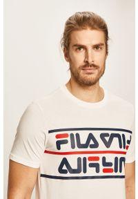 Biały t-shirt Fila z okrągłym kołnierzem, z nadrukiem