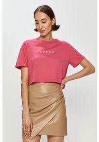 Różowa bluzka Guess z nadrukiem, casualowa, na co dzień