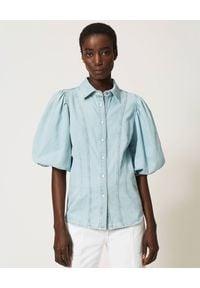 TwinSet - TWINSET - Jeansowa koszula z bufiastymi rękawami. Kolor: niebieski. Materiał: jeans