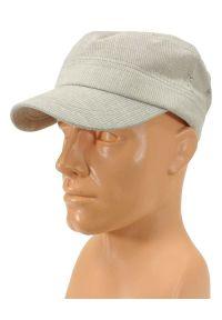 Beżowa czapka Pako Jeans na lato, w prążki