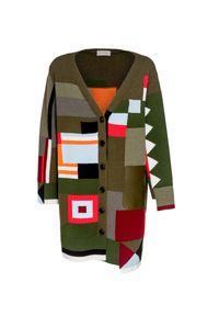 Sweter MRZ w geometryczne wzory, z asymetrycznym kołnierzem