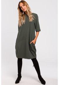 e-margeritka - Sukienka bombka dresowa khaki - l. Okazja: na co dzień. Kolor: brązowy. Materiał: dresówka. Typ sukienki: bombki. Styl: casual