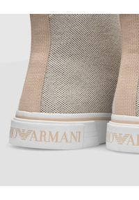 Emporio Armani - EMPORIO ARMANI - Beżowe trampki z logo. Zapięcie: sznurówki. Kolor: beżowy. Materiał: materiał. Styl: klasyczny