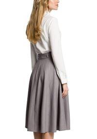 MOE - Rozkloszowana spódnica midi z kieszeniami. Materiał: materiał, elastan