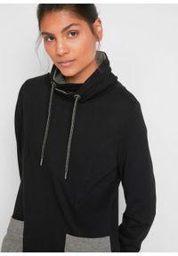 Sukienka dresowa z bawełny organicznej, długi rękaw bonprix czarno-szary melanż. Kolor: czarny. Materiał: bawełna, dresówka. Długość rękawa: długi rękaw. Wzór: melanż