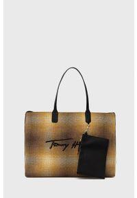 TOMMY HILFIGER - Tommy Hilfiger - Torebka. Kolor: żółty. Rodzaj torebki: na ramię