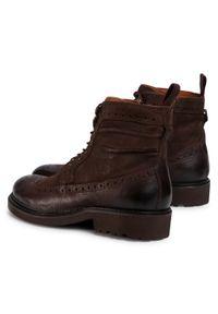 Brązowe buty zimowe Gino Rossi eleganckie, z cholewką