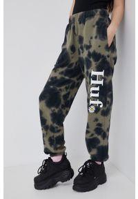 HUF - Spodnie. Kolor: zielony. Materiał: dzianina. Wzór: nadruk