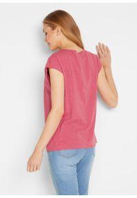 Shirt z koronką bonprix brązowy. Kolor: różowy. Materiał: koronka. Wzór: koronka