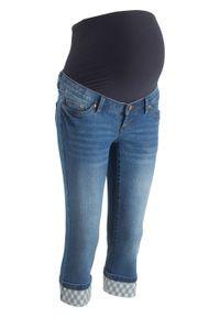 """Dżinsy ciążowe rybaczki z wywiniętymi nogawkami w kratę bonprix niebieski """"stone"""". Kolekcja: moda ciążowa. Kolor: niebieski. Sezon: lato"""