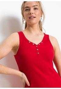 Sukienka w prążek, z guzikami bonprix truskawkowy. Typ kołnierza: dekolt w serek. Kolor: czerwony. Wzór: prążki. Styl: elegancki