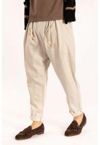 "Takeshy Kurosawa Spodnie ""Lino"". Materiał: len, tkanina, guma"