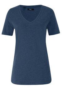 T-shirt z głębokim dekoltem w serek bonprix ciemnoniebieski melanż. Typ kołnierza: dekolt w serek. Kolor: niebieski. Wzór: melanż