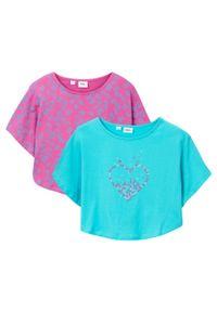 Shirt plażowy dziewczęcy (2 szt.) bonprix morsko-jasny fuksja. Okazja: na plażę. Kolor: niebieski