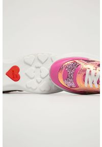 Różowe buty sportowe Love Moschino z okrągłym noskiem, na sznurówki, z cholewką