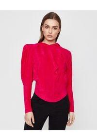 ISABEL MARANT - Różowa bluzka Valeria. Okazja: na co dzień. Kolor: różowy, fioletowy, wielokolorowy. Materiał: prążkowany, materiał. Długość: długie. Styl: casual