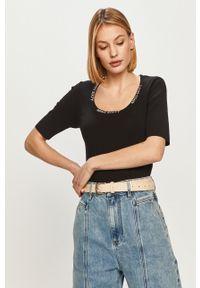 Czarny sweter Miss Sixty z krótkim rękawem, klasyczny, z aplikacjami, krótki
