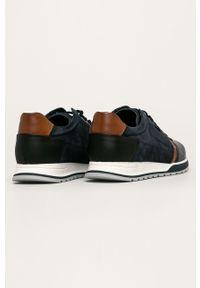 Niebieskie sneakersy Wojas na sznurówki, z cholewką, z okrągłym noskiem