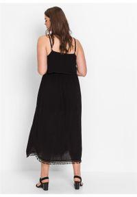 Czarna sukienka bonprix bez ramiączek, midi