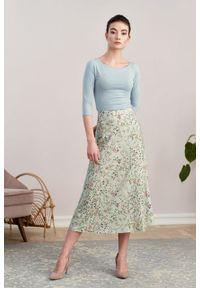 Marie Zélie - Spódnica Rachela Edera zielona. Kolor: zielony. Materiał: bawełna, wiskoza, tkanina. Wzór: gładki