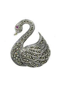 Braccatta - LAIMA Srebrna broszka z markazytami łabędź. Materiał: srebrne. Kolor: srebrny. Wzór: aplikacja. Kamień szlachetny: markazyt