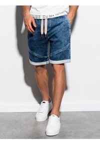 Ombre Clothing - Krótkie spodenki męskie jeansowe W219 - ciemny jeans - XXL. Materiał: jeans. Długość: krótkie. Wzór: aplikacja