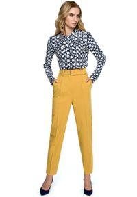 Żółte spodnie z wysokim stanem MOE klasyczne, z podwyższonym stanem