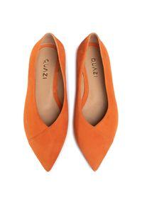 Pomarańczowe baleriny QUAZI z cholewką, klasyczne