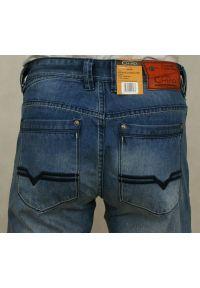 Chiao - Męskie Spodnie Casualowe, JEANSY, CHIAO, Przecierane, Niebieskie, Bawełniane. Okazja: na co dzień. Kolor: niebieski. Materiał: bawełna, tkanina, syntetyk. Styl: casual