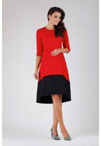 Czerwona sukienka asymetryczna Nommo z asymetrycznym kołnierzem, wizytowa