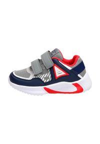 American Club - Szare sneakersy dziecięce AMERICAN ES08/21. Kolor: szary. Materiał: tkanina, skóra