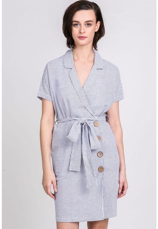 Niebieska tunika Monnari krótka, w paski, na co dzień