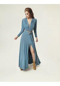 Madnezz - Sukienka Pat - brudny niebieski. Kolor: niebieski. Materiał: wiskoza, elastan. Sezon: lato