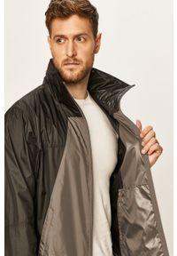 Szara kurtka columbia na co dzień, w jednolite wzory, casualowa, z kapturem