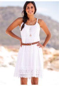 Biała sukienka bonprix na lato, w koronkowe wzory