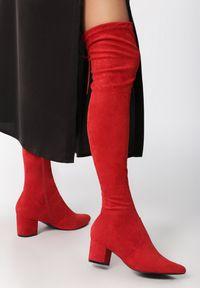 Born2be - Czerwone Kozaki Backstage Queen. Zapięcie: zamek. Kolor: czerwony. Materiał: materiał. Szerokość cholewki: normalna. Obcas: na słupku