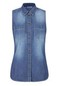Koszula dżinsowa bez rękawów bonprix niebieski. Kolor: niebieski. Długość rękawa: bez rękawów