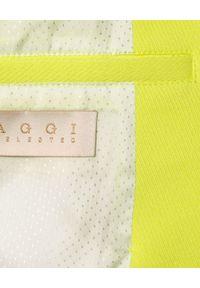 AGGI - Żółta marynarka Isabella. Okazja: na spotkanie biznesowe, do pracy. Typ kołnierza: typu klepsydra. Kolor: żółty. Długość: długie. Wzór: ze splotem. Styl: biznesowy