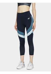 4f - Legginsy do biegania damskie. Stan: podwyższony. Kolor: niebieski. Materiał: jersey, dzianina, włókno, materiał. Sport: bieganie