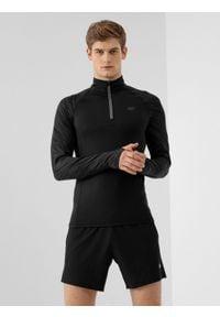 4f - Bluza do biegania męska. Kolor: czarny. Materiał: włókno, skóra. Długość rękawa: raglanowy rękaw