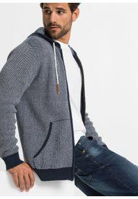 Niebieski sweter bonprix z aplikacjami, z kapturem