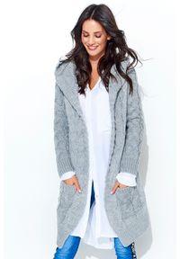Szary sweter Makadamia z kapturem, długi