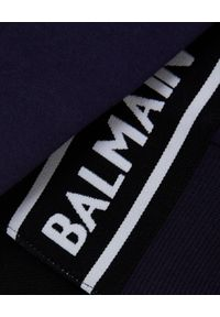 Balmain - BALMAIN - Krótka bluza z logo. Kolor: niebieski. Materiał: bawełna, jeans. Długość: krótkie. Styl: sportowy, klasyczny, elegancki