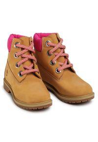 Brązowe buty trekkingowe Timberland z aplikacjami, z cholewką, trekkingowe